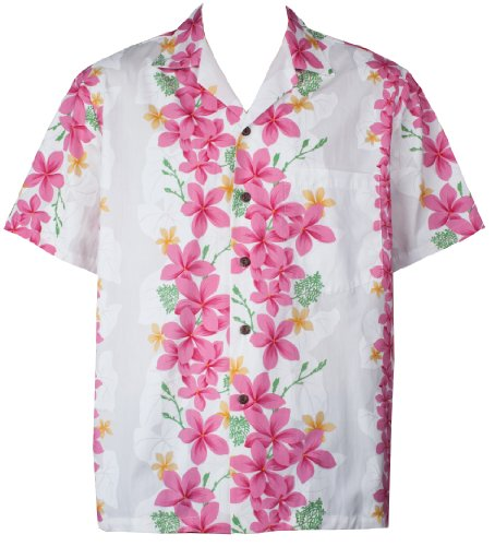 Two Palms Mens Vintage Plumeria Cotton Shirt White 3X by Two Palms