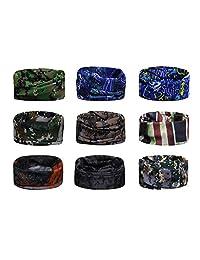 Scott Edward 9pcs Headbands Headwear elástico Magia Bufanda Bandana Bandas de Deportes Yoga sin Costuras Camuflaje, Color de la Flor, Color Multi-Solid, para los Hombres y