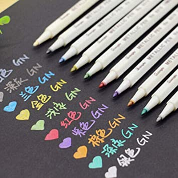 Mark 10 Colors Paper Paint Marker Pens Permanent for Art Craft Drawing