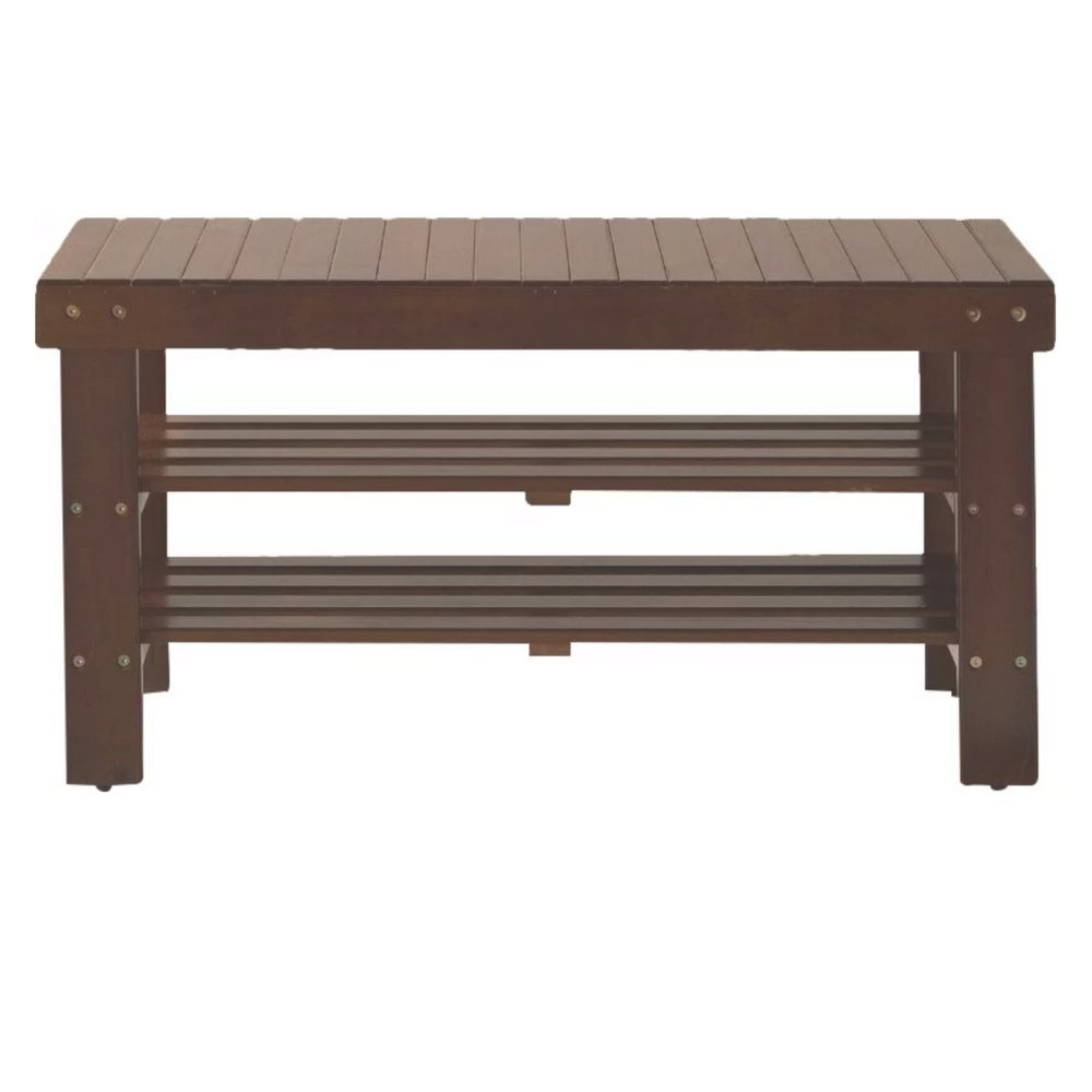 TSD Shoe Rack Bench Seat, Cherry Color, Wood Material, Easy Assembly, Soft And Comfortable, Stylish Design, Sturdy And Durable Construction & E-Book Home Decor