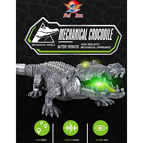 LtrottedJ Auto-Crawl Simulated Mechanical Crocodile Toy Gifts with Light and Sound