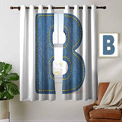 (petpany backout Curtains for Bedroom Letter B,Jeans Clothing Retro Fashion Style Alphabet Elements Youth Typography Design,Blue Yellow,Pocket Thermal Insulated Tie Up Curtain 42