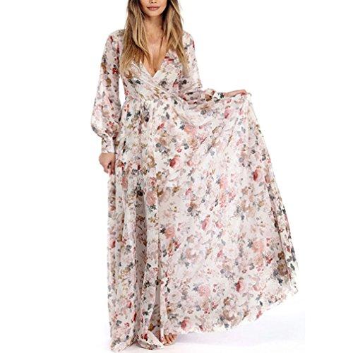 HODOD Summer Fashion Women's V-Neck Long Sleeve Chiffon Floral Long Maxi Evening Party Dress (Beige, - Smock Silk Chiffon Dress