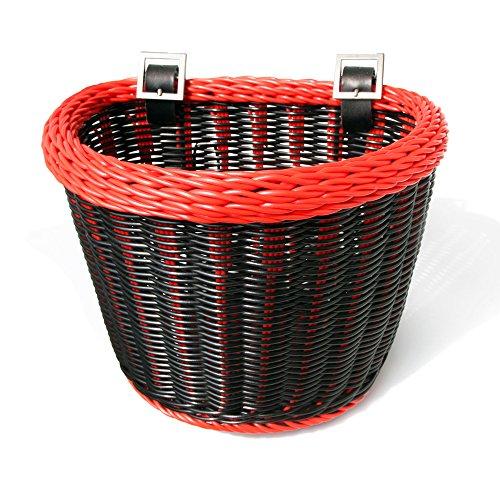 Colorbasket 02218 Junior Front Handlebar Bike Basket, Black with Red Trim