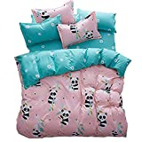 Hxiang 3pcs Kids Bedding Sheet Set One Duvet Cover Without Comforter Two Pillowcases Twin Full Queen King Size Panda Design (Twin, pink)