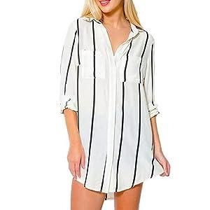 Yoyorule Women Sexy Chiffon V-Neck Long Sleeve Loose Shirt Blouse Tops (XL, White)