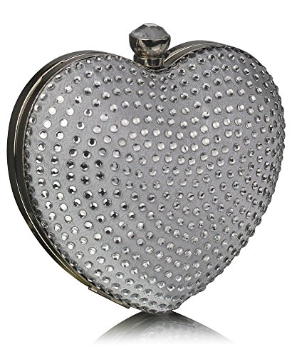 Party Evening Ladies Handbag Newlook Stones Design Bag Silver New 1 Clutch Heart Design Diamante Luxury vnzw80Hqn4