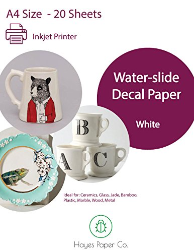 Hayes Paper, Waterslide Decal Paper Inkjet WHITE 20 Sheets Premium Water-Slide Transfer WHITE Printable Water Slide Decals A4 Size ()