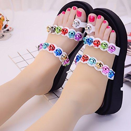 remache de Cool de alto de tacón A mujer zapatillas nbsp;Kit Fankou white gruesa de zapatillas calzado antideslizante toe verano moda 39 5HqEtx
