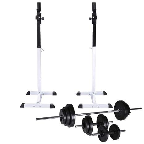 vidaXL Soporte Musculación Barra Mancuerna 30,5kg Pesa Ejercicio Entrenamiento