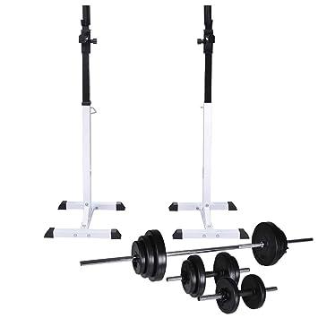 vidaXL Soporte Musculación Barra Mancuerna 30,5kg Pesa Ejercicio Entrenamiento: Amazon.es: Deportes y aire libre