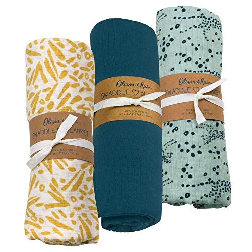 Oliver & Rain Baby Swaddle Sampler - 3-Pack Newborn 100% Organic Cotton Muslin Swaddle Blankets in Solid Coral Blue, Blue & Gold Cheetah Prints