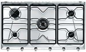 Smeg SRV596-5 hobs - Placa (Integrado, Gas, Acero inoxidable, 88,5 cm, 50 cm, 3 cm)