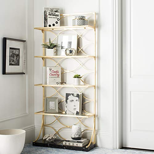 Safavieh FOX6299A Home Collection Spano 4 Glass Tier Marble Base Etagere, Gold/Black