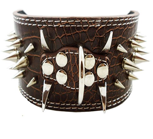 (Dogs Kingdom Brown Faux Croc Leather Spiked Dog Collar 3