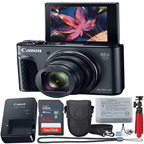 Canon PowerShot SX730 Digital Camera w/40x Optical Zoom & 3 Inch Tilt LCD - Wi-Fi, NFC, Bluetooth Enabled (Black) 11 Piece Value Bundle -