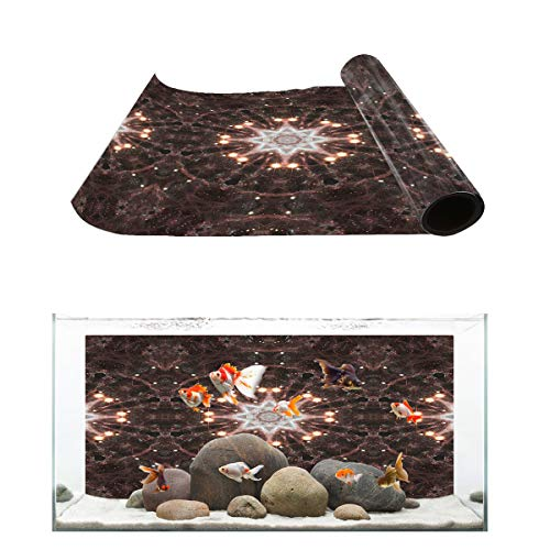 (Fantasy Star Aquarium Background Symbolism Brown Mandala Flower Pattern Fish Tank Wallpaper Easy to Apply and Remove PVC Sticker Pictures Poster Background Decoration 18.4