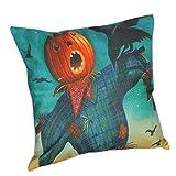 """Hidden Zipper Halloween Print Pillowcase - Woaills Flax Square 18"""" Sofa Cushion Cover Home Decor (D)"""