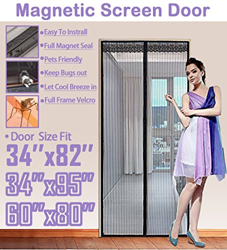 Retractable Screen Sliding Door (TheFitLife 36''x83'' Magnetic Screen Door Fits doors up to 34''x82'' Max Full Frame Velcro Heavy Duty Mesh)