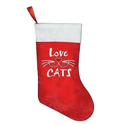 Amor Gatos Navidad medias calcetines bonito Classic de Papá Noel calcetín de Navidad de Papá Noel