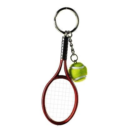 kentop llavero Creative Raqueta de tenis llavero metal Llavero con colgante pequeño regalo para tenis entusiastas 3.7 * 12cm rojo