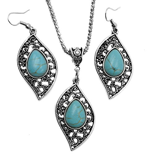 Gprince Retro Design Leaf Turquoise Necklace Earrings Fashion Jewelry Set
