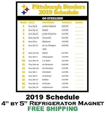 Amazon.com: Pittsburgh Steelers NFL Football 2019 Schedule