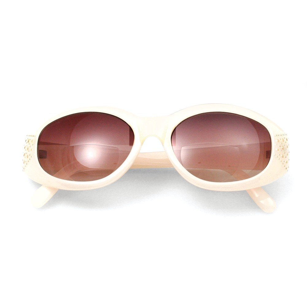 Top 10 Jewelry Gift Cream w/Metal Studs 2.25 Magnification Bifocal Sun Reading Glasses