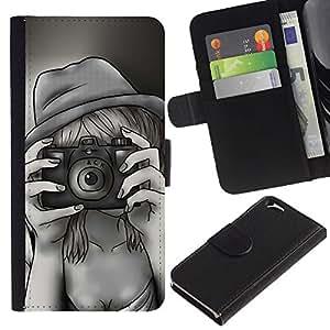 """Apple (4.7 inches!!!) iPhone 6 , la tarjeta de Crédito Slots PU Funda de cuero Monedero caso cubierta de piel ("""" Camera Photography Girl Drawing Pencil Art"""")"""