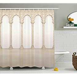 Ambesonne Pillar Decor Shower Curtain, Architecture Theme Wall with Graceful Columns and Arches Digital Image, Fabric Bathroom Decor Set with Hooks, 70 inches, Beige and White