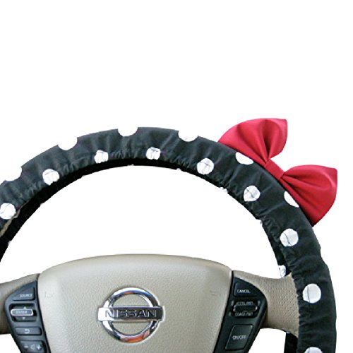 (Beau Fleurs Accessories BF11074 - Steering Wheel Cover Bow, Black Polka Dot Steering Wheel Cover with Red Bow, Black Polka Wheel Cover Bow)