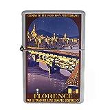 Wind Proof Dual Torch Refillable Lighter Vintage Poster D-060 Florence Par Le Train De Luxe Rome Expre Paris Lyon