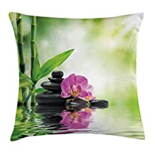 Spa Throw Pillow Cushion Cover by Ambesonne, Orchids and Rocks in the Mineral Rich Spring Water Spiritual Deep Treatment Image, Decorative Square Accent Pillow Case, 18 X18 Inches, Green Black Pink