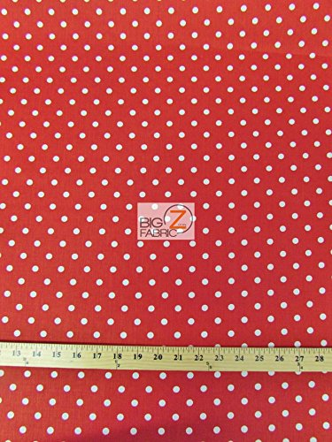 (RED/WHITE SMALL POLKA DOTS PRINT POLY COTTON FABRIC 58