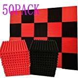 50 Pack black&Red Acoustic Panels Studio Foam Wedges 1'' X 12'' X 12'' Sound-proofing,Sound Absorption (50pcs, Black&Red)
