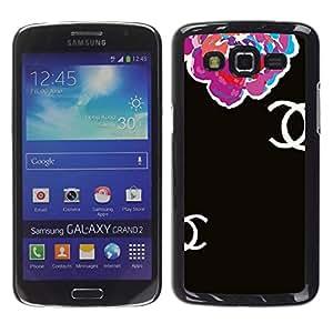 iKiki Tech / Estuche rígido - Begonia Floral Black Clothing Fashion - Samsung Galaxy Grand 2 SM-G7102 SM-G7105