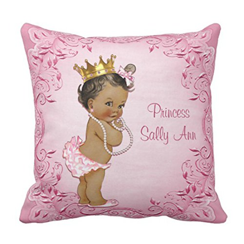 Emvency Throw Pillow Cover Cute Baby Personalized Ethnic Princess Glamorous Vintage Girl Decorative Pillow Case Home Decor Square 18 x 18 Inch Pillowcase