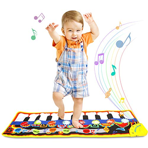 ONME Piano Mat, Soft Baby Early Education Portable Music Piano Keyboard Carpet, Safe Electronic Keyboard Play Blanket, Colorful Dance Mat-24 Keys Piano Toys Great Music Toy for Children -