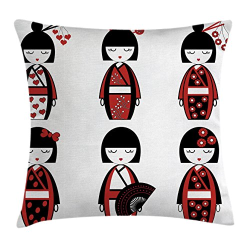 Girly Decor Throw Pillow Cushion Cover by Ambesonne, Asian Geisha Dolls in Folkloric Costume Outfits and Hair Sticks Kimono Art Image, Decorative Square Accent Pillow Case, 18 X18 Inches, Black Red