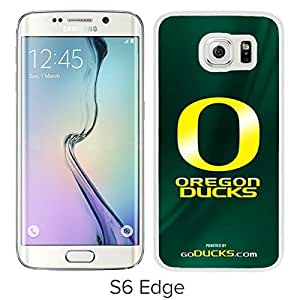 NCAA Pacific Conference Pac Football Oregon Ducks(5) White Samsung Galaxy S6 Edge Screen Cover Case Luxurious and Fashion Design