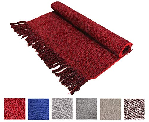 Vintage Hand Woven Rug - Vintage Wine Nordic Hand Woven Chindic Entry Way Rug | Rag Rug with Tassels Cotton Modern Floor Mat for Door Porch Kitchen, 2x3 Feet