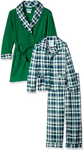 Bunz Kidz Boys' Big Boys' Classic Plaid Robe and 2pc Pajama Set, Green, 10