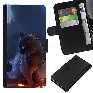 KingStore / Leather Etui en cuir / Sony Xperia Z1 L39 / Negro Majestic Gato