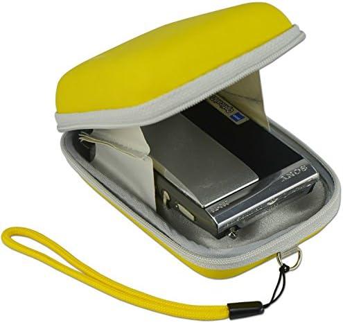 First2savvv BDX1014 Yellow Compact anti-shock camera case bag for Nikon COOLPIX S9050 panasonic LUMIX DMC-FT30 PANASONIC LUMIX DMC-TS30 CASIO EX-MR1 CASIO EX-FC200S with mini tripod