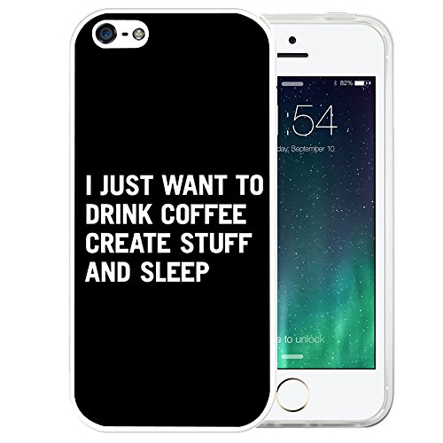 Price comparison product image iPhone SE Case,  LAACO Beautiful Clear TPU Case Rubber Silicone Skin Cover for iPhone 5 / 5S / SE - I just want to drink coffee create stuff and sleep