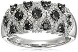 Sterling Silver Black and White Diamond Ring(1cttw), Size 7
