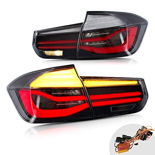 YUANZHENG LED Sequential Tail Lights for [BMW F30 F35 Sedan 6th Gen 2012 2013 2014 2015 2016 2017 2018] with Fiber Optic DRLs YAB-BW-0293 (SMOKE)