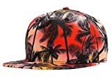 Men Women Coconut Palm Tree Hat Brim Snapback Flat Bill Hat Cool Hip