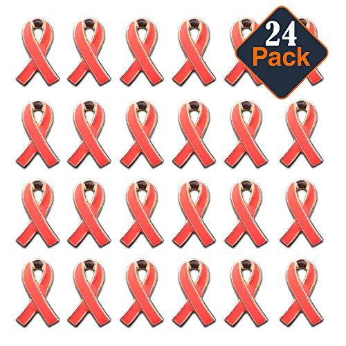 Breast Cancer Awareness Pins Bulk ~ 24 Pink Ribbon Pins for Support, Events, Survivor - Survivor Cancer Breast Pins