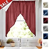 Swag Curtains for Kitchen 63-inch Semi Sheer Home Decor Solid Color Casual Weave Textured Bathroom Window Drapes (2 panels, 72″ W, Burgundy Red) For Sale